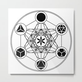 Platonic Solids, Metatrons Cube, Flower of Life Metal Print