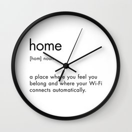 Home Definition Text Sign Wall Clock
