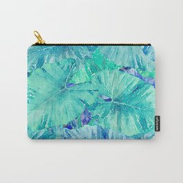 Tropical Blue Leaf Pattern Carry-All Pouch