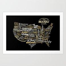 UNITE STATES OF BEARDLY - BLACK Art Print