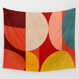 shapes of red mid century art Wall Tapestry