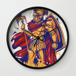 An illustration of a warrior character or sports mascot Wall Clock