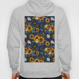 Modern yellow orange blue watercolor sunflower floral pattern Hoody