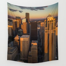 Downtown Seattle Sunset Wall Tapestry
