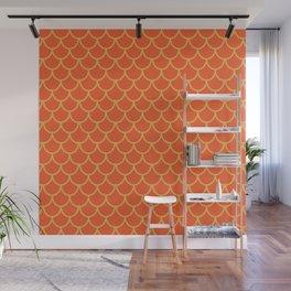 Mermaid Scales Pattern in Orange. Gold Scallops_Orange Wall Mural