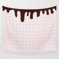 sprinkles Wall Tapestries featuring Pink Sprinkles Choc Top by Squibble
