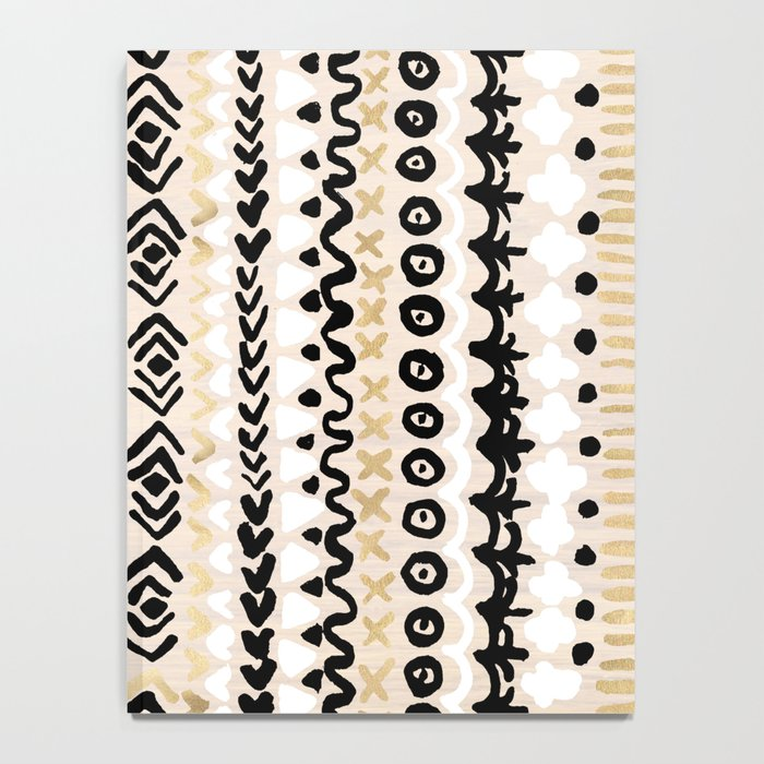 Black, White & Gold Tribal Notebook