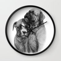 puppies Wall Clocks featuring Boxer Puppies by Danguole Serstinskaja