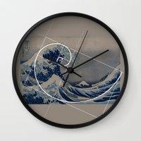 fibonacci Wall Clocks featuring Hokusai Meets Fibonacci by Vi Sion