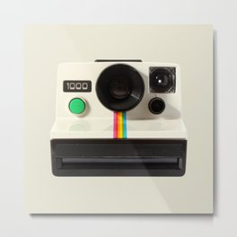 Retro 80's objects - Instant Camera Metal Print