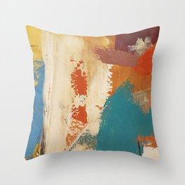 Rustic Orange Teal Abstract Throw Pillow