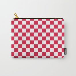 Small Checkered - White and Crimson Red Carry-All Pouch