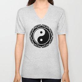 Yin Yang Lotus Flower Unisex V-Neck