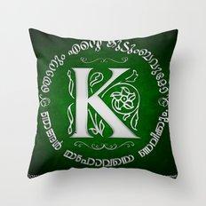 Joshua 24:15 - (Silver on Green) Monogram K Throw Pillow