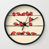 cartoon Wall Clocks featuring Hanging Out by Eric Fan