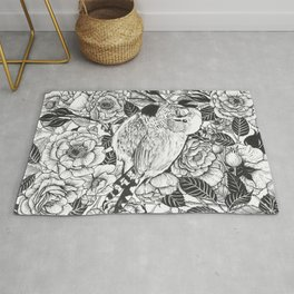 Zebra finch and rose bush ink drawing Rug