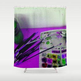 Aquarell und Digital Shower Curtain