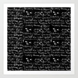 White French Script on Black background with White birds Art Print