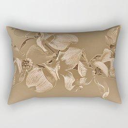 Dogwood Tree Flowers (sepia-light) Rectangular Pillow