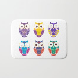 bright colorful owls on white background Bath Mat