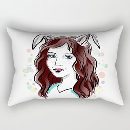 Girl with Rabbit Ears Rectangular Pillow