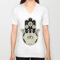 hamsa V-neck T-shirts featuring Hamsa by Joel Amat Güell