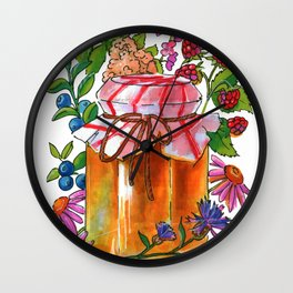 Honey Jar with Flowers, Herbs and Berries Wall Clock