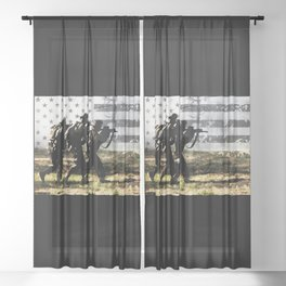Soldiers and US Flag Sheer Curtain