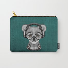 Cute Baby Koala Bear Dj Wearing Headphones on Blue Carry-All Pouch