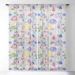 Watercolor Mushroom Pattern on Gray Sheer Curtain