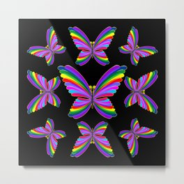 Butterfly Psychedelic Rainbow Metal Print
