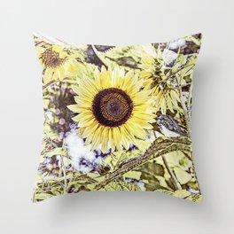 Big Yellow Sunflower Summer Garden Throw Pillow