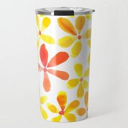 Retro Flowers - Yellow and Orange Travel Mug