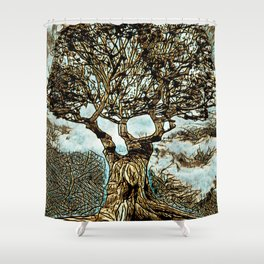 Brown Tree At Peace Shower Curtain