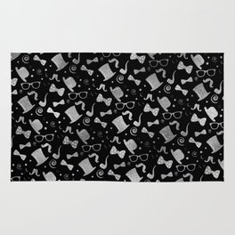 Hipster Elements Pattern silver on black Rug