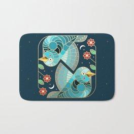 Beautiful Art Deco Midnight Bluebirds And Blossoms Bath Mat