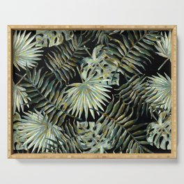Jungle Dark Tropical Leaves #decor #society6 #pattern #style Serving Tray