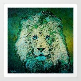 LION  Blue Art Print