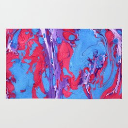 Handmade pink blue marble texture Rug