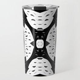 Cutouts Black and White Abstract Travel Mug