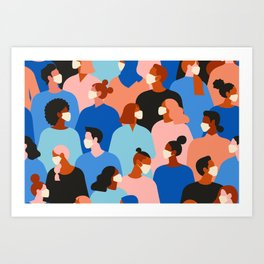 People in white medical face mask Art Print