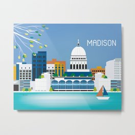 Madison, Wisconsin - Skyline Illustration by Loose Petals Metal Print