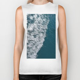 Sea wave with white foam Biker Tank