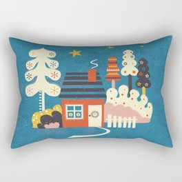 Festive Winter Hut Rectangular Pillow