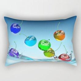 Rainbow Che-rries Splash Rectangular Pillow