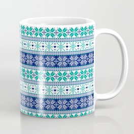 Blue & Turquoise Winter Fair Isle Pattern Coffee Mug