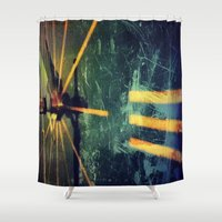 clock Shower Curtains featuring Clock by Carsick T-Rex