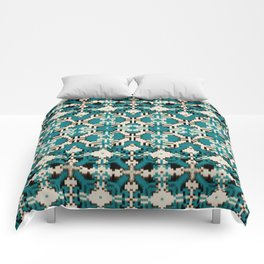 ikat geo mix patched in teal Comforters