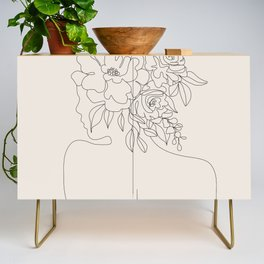 Woman with Flowers Minimal Line I Credenza