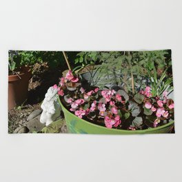 Sun kissed Garden Angel and Begonias Beach Towel